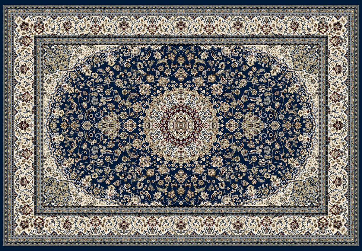 Flot blå wilton tæppe i klassisk orientalsk mønster. Billede i stor størrelse